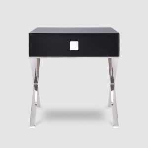 1015A - Black Glass & Polished Stainless Steel Legs 1