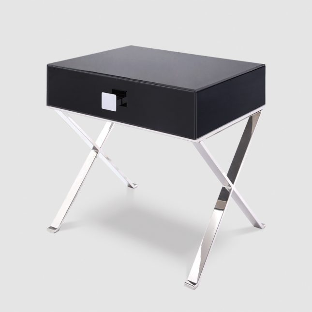 1015A  - Black Glass & Polished Stainless Steel Legs 2