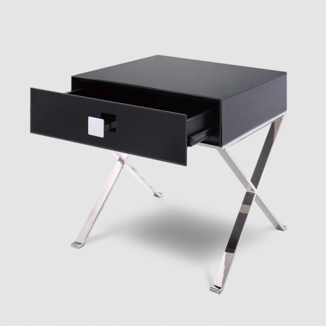 1015A  - Black Glass & Polished Stainless Steel Legs 3