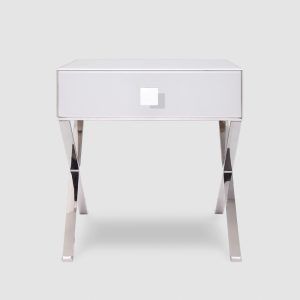 Richmond Beside Table - White Glass & Polished Stainless Steel Legs 1
